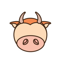 Face cow cartoon animal vector