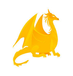 Flat yellow colored dragon with wings horns vector