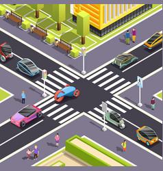 Future transport isometric street background vector