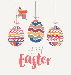 Greeting card with easter eggs and bird vector