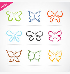 group of hand drawn butterfly on white background vector image