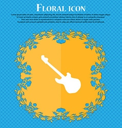 Guitar icon sign floral flat design on a blue vector