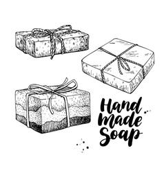 Handmade natural soap set hand drawn vector image vector image