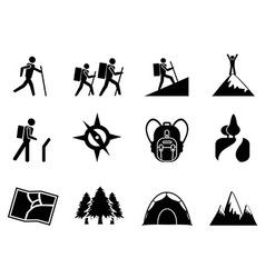 hiking icons vector image vector image