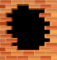 hole in brick wall vector image