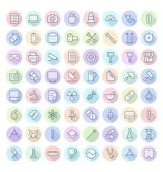 icons line rounded tech science thin vector image
