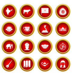 India travel icon red circle set vector