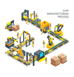 industrial production of computer parts machinery vector image