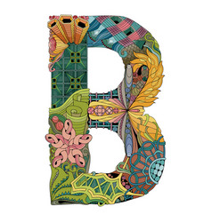 Letter b zentangle decorative object vector