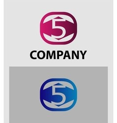 Logo icon design template elements the number 5 vector