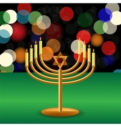 Metal Menorah with Burning Candles vector image vector image