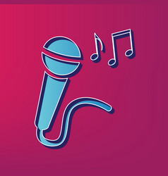 Microphone sign with music notes blue 3d vector