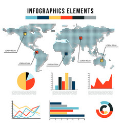 Modern infographics elements set of graphs vector
