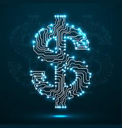 neon symbol of dollar circuit board vector image vector image