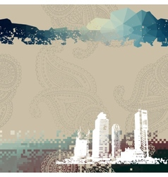 Place for text with grunge city vector