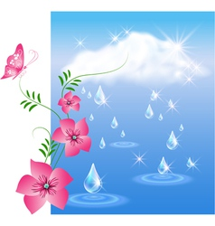 Rain and flowers vector image vector image