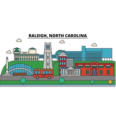 raleigh north carolina city skyline architecture vector image