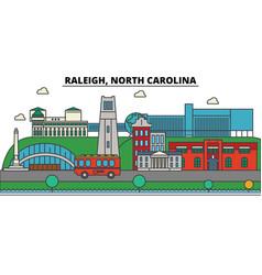 Raleigh north carolina city skyline architecture vector