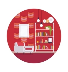 Retro interior with red walls in a circle vector