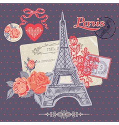 Scrapbook design elements - paris vintage card vector