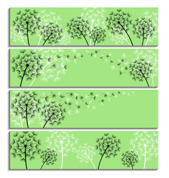 Set of horizontal green banner with dandelion vector