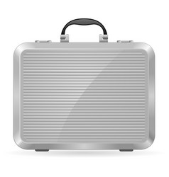 silver briefcase on white background for design vector image