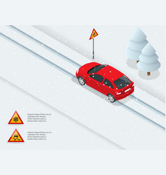 Slippery ice winter snow road and cars caution vector
