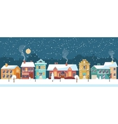 Snowy Christmas night in the cozy town panorama vector image