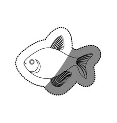 Sticker silhouette fish aquatic animal icon vector