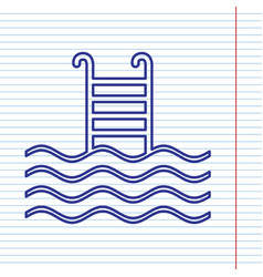 Swimming pool sign navy line icon on vector