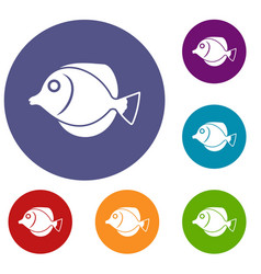 Tang fish zebrasoma flavescens icons set vector