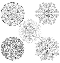 tribal native style five mandalas flowers set vector image