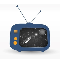 Tv with retro rocket vector