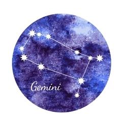 Watercolor horoscope sign gemini vector
