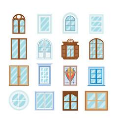 wood window frames architecture design outdoor vector image