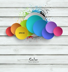 Wooden Background With Color Plates vector image vector image