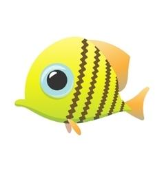 Yellow cute fish cartoon icon vector
