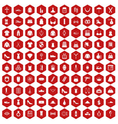 100 womens accessories icons hexagon red vector