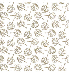 monstera tropic plant outline leaves seamless vector image