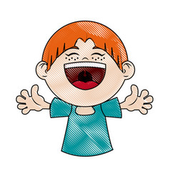 cartoon happy girl celebration smiling image vector image