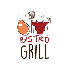 Bistro grill logo template hand drawn colorful vector