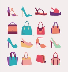 Ffashion women bags handbags and high heels shoes vector