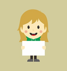 Woman with blank sign vector