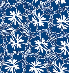 Hibiscus blue flowers and tropical leaves in a vector