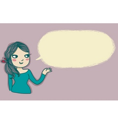 Young girl speaking vector image