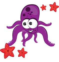 cartoon octopus with starfish vector image