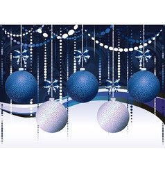 Blue and white xmas balls vector