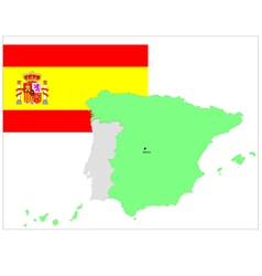 6146 spaine map and flag vector image vector image