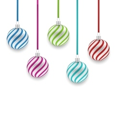 Colorful striped glass balls isolated vector