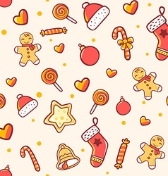 Seamless christmas pattern on light background vector